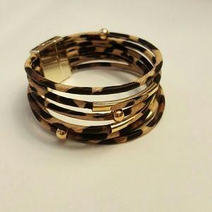 Multi Strand Bracelet Leopard Print With Gold